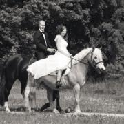 Hochzeitsfoto mit Pferden